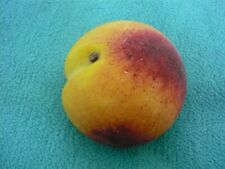 Realistic Sculpted ALABASTER Stone Marble Fruit PEACH w/ Wood Stem ITALY