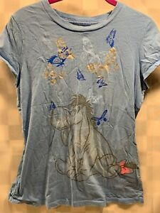 Disney EEYORE Winnie The Pooh Blue Butterflies Kid's T-Shirt Size L