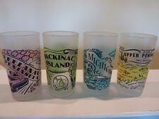 RARE VINTAGE LOOKING 4 GLASSES~MICHIGAN MACKINAC IS. U.P. LEELANAU PENINSULA~NEW