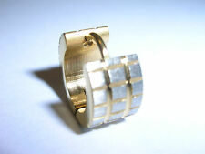 New ONE hooped men's huggie Earring Surgical Steel gold plated Grooved