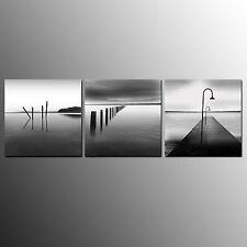 Home Decor Canvas Print Painting Picture Black White Landscape Lake No Frame 3pc