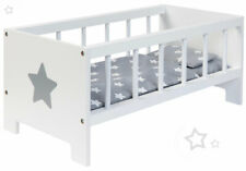 Sun Puppenbett Sternchen Holz Holzbett Bett Puppe Gitterbett Puppenmöbel Grau