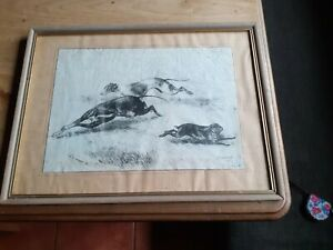 Print Hare Coursing Greyhound R H Moore