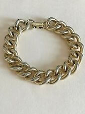 "Chunky Chain Link Bracelet~ Brushed Ribbed Goldtone Bracelet 7 1/2"" Long ~Unisex"