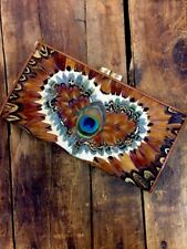 Vintage Wallet Purse  Peacock Feather  Exotic Accessory Hawaii