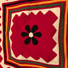 Handmade Patchwork Red Multi Flower Applique King Pillowcases and Sham Set of 5