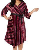 NY Collection Womens Faux-Wrap Dress Red 1XP Plus Petite Striped Velvet $70 087
