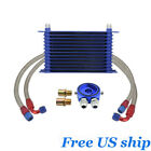 13-row 10an Engine Transmission Oil Cooler Filter Adapter Hose Kit For Universal