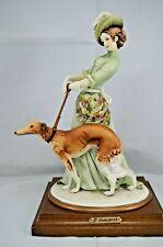 VINTAGE CAPODIMONTE FLORENCE BRUNO MERLI FIGURINE LADY & BORZOI DOG