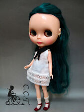 C.C.T Blythe Dal doll outfit black collar one piece lace dress (white) c-557