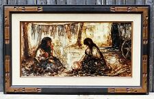 Old Spanish Oil Painting Signed Lopez Diaz Granada Spain 2 Gypsy Women Cooking