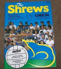 shrewsbury town v ipswich town 29/01/1984 fa cup  programme