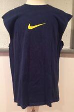 vtg Vintage 90s 1990s Blue Nike Swoosh 2 Sided Sleeveless Made USA T Shirt Large