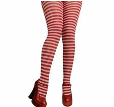 Ladies Red & White Striped Tights Fancy Dress Halloween Party Accessory