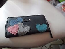 XOXO black zip around accordion wallet with hearts