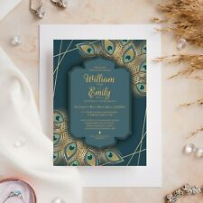 10 Wedding Invitations Day/Evening Peacock Feather Gold Elegant