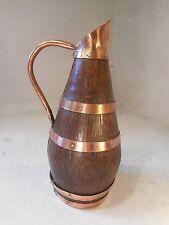 Vintage Oak Barrel Jug , Pitcher , Copper Banded   ref 2086