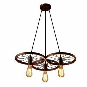 Vintage Industrial Ceiling Pendant 3/1 Light Retro Loft Style Wheel Shade Lamp