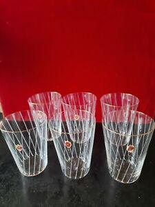 POSCHINGER 6 Wassergläser weiße Linien Goldrand H 10 cm DM 7,5 cm