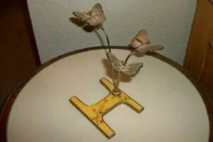 BUCKLERS ENAMEL PAPERWEIGHT BRASS BUTTERFLY SCULPTURE INITIAL RARE MID CENTURY
