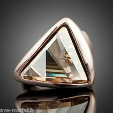 Triangle Swarovski Stellux Austrian Crystal 18K Rose Gold Plated Women's Ring