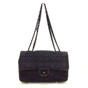 Auth CHANEL New Travel Line A15285 Black Nylon Jacquard Womens Shoulder Bag