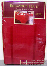 "NEW ELEGANCE PLAID RED TABLECLOTH 60 x 120"" Oblong SPRING SUMMER HOME DECOR"