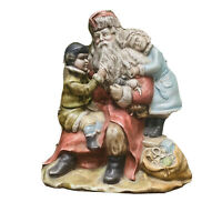 """Vintage Santa with Kids and Toys Ceramic 1991 Mold Hand Painted Figure 7""""x 7"""""""