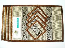 Set 4 Thai Coasters Placemats Mat Dining Silk Reed Elephant Table Brown Color