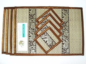 Thai Coasters Placemats Mat Dining Silk Reed Elephant Table Brown Color Set 4