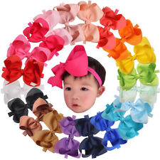 20pcs 6 In Baby Bow Headbands Solid Ribbon Big Hair Bows for Infant Newborn Girl