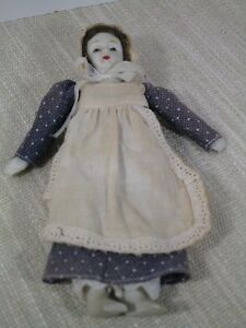 Vintage Doll Bisque Head Hand Feet Clothes are Hand Sewn Bonnet Apron 8 inches