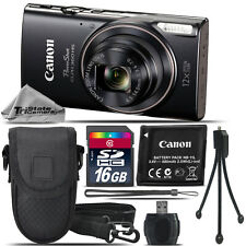 Canon PowerShot ELPH 360 Digital Camera (Black) 1075C001 - 16GB Essential Kit