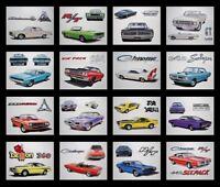 16 DODGE DEALER ART PRINTS - 1970 1971 1972 1973 1974 CHARGER CHALLENGER DEMON
