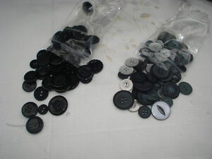 Buttons, 50 grams, assorted sets, black/greys