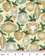 Fat Quarter Father Frost Gold Baubles Christmas Cotton Quilting Fabric-Benartex