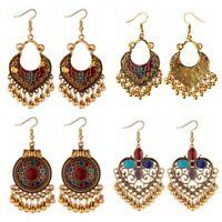 Fashion Retro Boho Drop Gold Carved Ethnic Tassel Earrings Women Jewellery