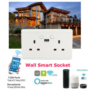 UK-Plug Smart WiFi Wall Socket Single Dual USB APP Outlet Android and iOS Home