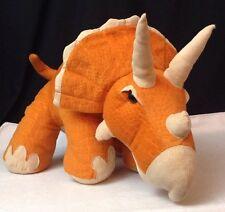 """HUGE Plush Dinosaur 26"""" Long Triceratops Orange 2011 Animal Adventure"""