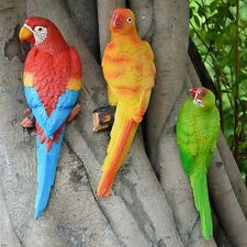 Resin Parrot Bird Statue Wall Mounted Outdoor Garden  Tree Lawn Decor Ornament