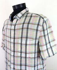 French Connection Mens Short Sleeve Shirt Plaid Check Size L 100% Linen Casual