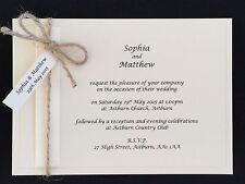 10 Personalised Handmade Vintage Rustic Day / Evening Wedding Cards Invitations