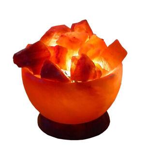 Medium Himalayan Fire Bowl Salt Lamps Basket 2-3kg H 18cm W 15cm Lead Bulb