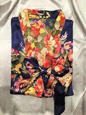 Bridesmaids Robes Silk Satin Floral Robe Kimono Short Plus Size Navy Blue