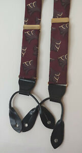 CAS W Germany Suspenders Braces Burgundy Art Deco Silk Elastic Vintage