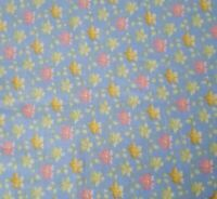 Calico BTY General Fabrics Peach Yellow Green Floral on Blue
