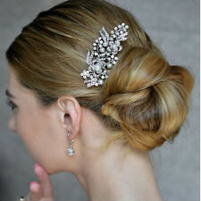 Vintage Crystal And Pearl Wedding Bridal Hair Pin Statement Side Comb Vine