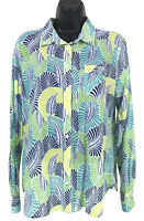 Stylus Shirt Womens Size L Large Blue Green Floral Button Front Long Sleeve