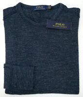 Orig $89 Polo Ralph Lauren RIbbed Cotton Long Sleeve Blue Sweater Mens Size S XL