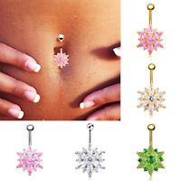 Fashion Flower Crystal Rhinestone Body Piercing Jewelry Belly Button Navel Ring